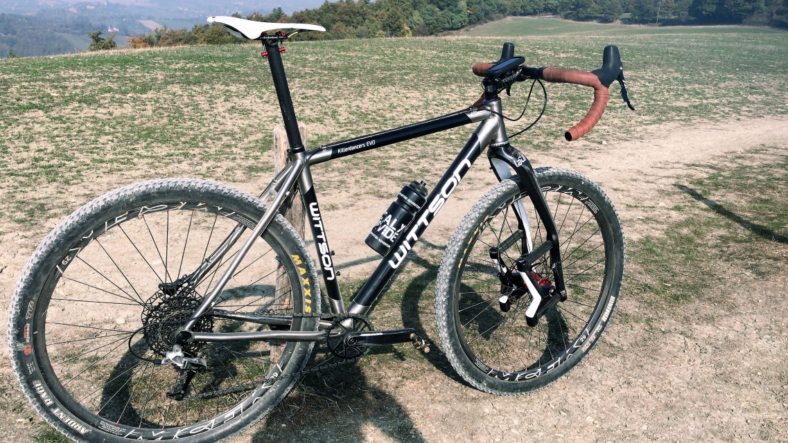 custom carbon gravel bicycle with titanium lugs lauf grit fork mcfk wheelset