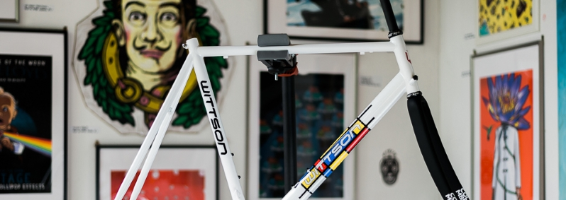 custom Mondrian titanium road bicycle frame with Columbus Minimal fork and Chris King headset