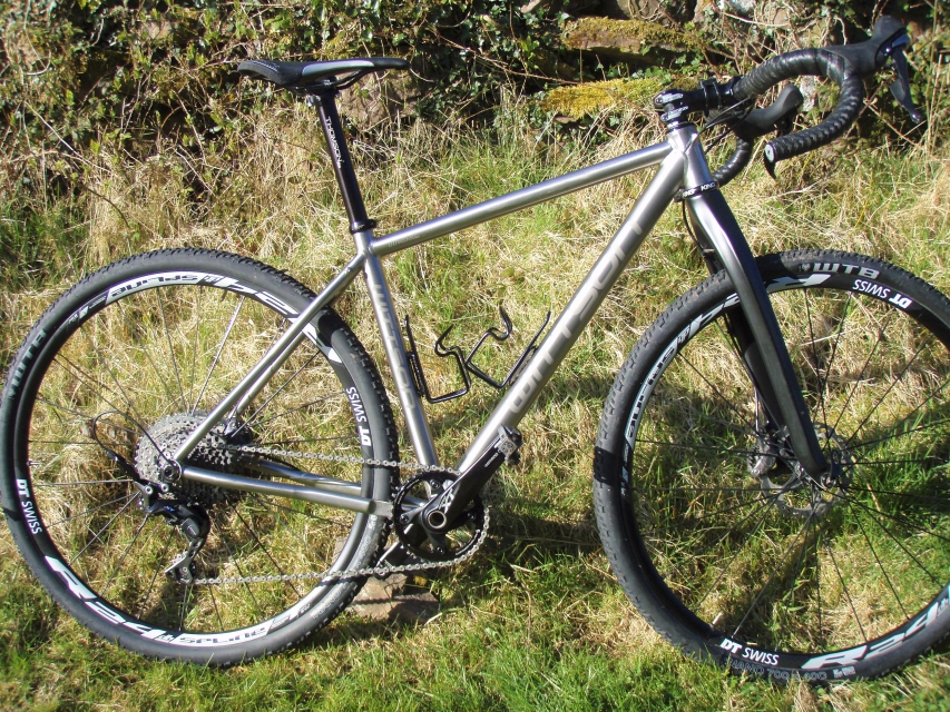 titanium monstercross bicycle with xt groupset dt swiss wheelset