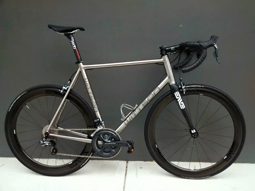 titanium road bicycle with ultegra di2 groupset enve wheelset and fork